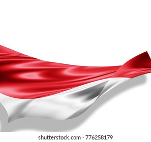 Indonesia flag of silk with copyspace for your text or images and white background -3D illustration