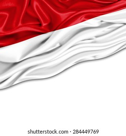 Indonesia  flag of silk and white background