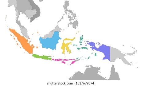 Indonesia map, new political detailed map, separate individual states, with state names, isolated on white background 3D blank raster