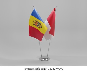 Indonesia - Moldova Cooperation Flags, White Background - 3D Render