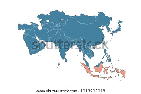 Map Of Asia Indonesia.Indonesia On Map Asia Stock Illustration 1013905018 Shutterstock