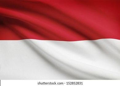 Indonesian flag blowing in the wind. Part of a series.