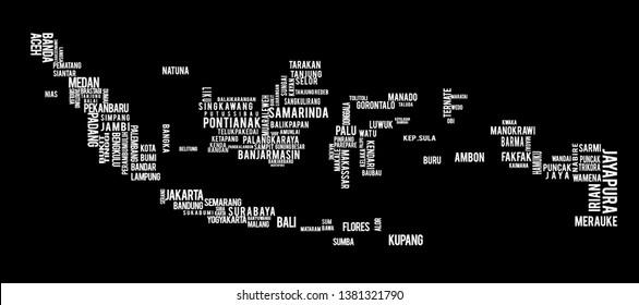Indonesian Map that is made by using words. Peta Indonesia yang disusun dari nama kota