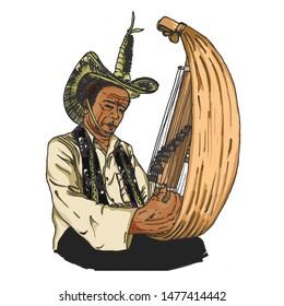 Indonesian Playing Traditional Music Instrument Sasando