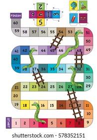 An indoor game of Snake Ladder
