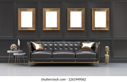 Indoor mockup,black and metallic gold living room with 4 picture frames, side tables, sofa, cushions and ethnic sculptures.  3D rendering illustration