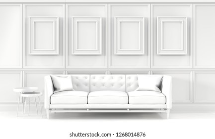 Indoor mockup,white living room with a blank picture frames,  side tables, sofa and cushions.  3D rendering illustration. Real estate, interior design decoration concept.