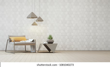 Indoor plant on steel coffee table and armchair with empty white triangle pattern wall background, Relaxing area in loft living room of modern house - Home interior 3d illustration.
