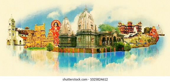 INDORE city colored watercolor painting illustration