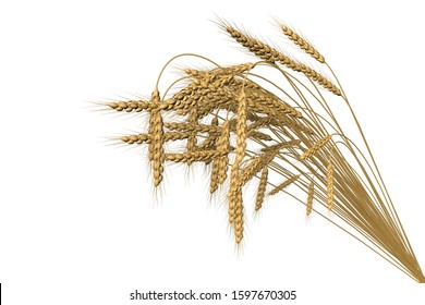 industrial 3D illustration of the modern sheaf of wheat spikelets isolated on white background - agriculture