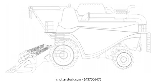 Industrial 3D illustration of thin contoured, detailed 3D model of big wheat agricultural harvester on white, harvesting machine research concept