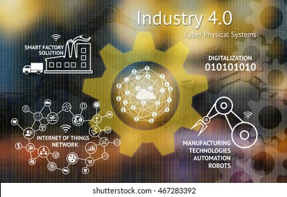 Industrial 4.0 Cyber Physical Systems concept , Gears , Internet of thins network , smart factory solution , Manufacturing technology , automation robot icon with abstract binary background