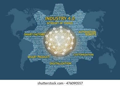 Industrial 4.0 Cyber Physical Systems concept , Gears text , Internet of things network , smart factory solution , Manufacturing technology , automation robot text with world map blue background