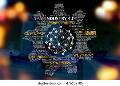 Industrial 4.0 Cyber Physical Systems concept , Gears , Internet of things network , smart factory solution , Manufacturing technology , automation robot text with abstract binary bokeh background
