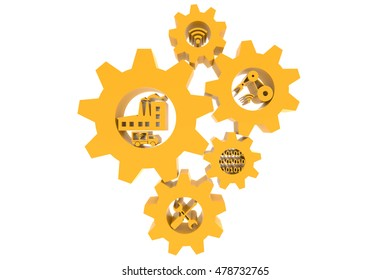 Industrial 4.0 Cyber Physical Systems concept, Yellow gears and industry 4.0 icons , arrow with white background ,3D illustration