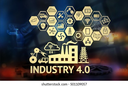 Industrial 4.0 Cyber Physical Systems concept,Icon of industry 4.0 ,Internet of things network,smart factory solution,Manufacturing technology,automation robot with abstract background.3d illustrative