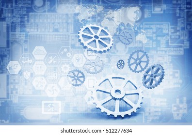 Industrial 4.0 Cyber Physical Systems concept . Gears , industry infographic icons with electric circuit in smart factory abstract background , 3d rendering, blue tone