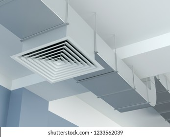 Industrial air duct ventilation equipment, 3D illustration