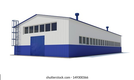 Industrial building. Isolated render on a white background