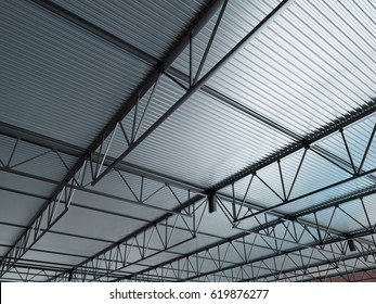 Industrial Building Metal Roof Background 3d Illustration