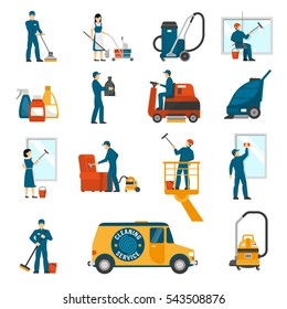 Industrial cleaning service workers flat icons collection with vacuum scrubber and sweeper machines abstract isolated  illustration