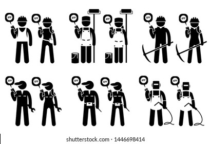 Industrial, construction, builders, and mining workers using mobile app for their jobs. Cliparts depicts construction worker, painter, miner, technician, mechanic, and welder use smartphone app.