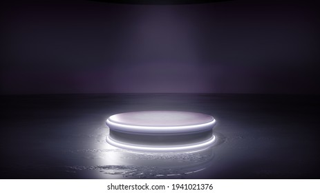 An industrial dark photoshoot backdrop, with a highlighted podium to promote your products. A 3D illustration background