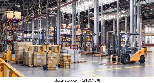 Industrial distribution, shopping center warehouse. Storage with high shelves, pallet trucks, goods boxes on rack, forklifts, loaders. Rows of shelves with cargo boxes in retail merchandise shop, 3D
