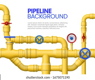 Industrial gas pipe banner. Yellow pipeline, oil pipes and pipelines  illustration. Modern background or backdrop design template with plumbing system - metal conduits, rotary handles, valves.