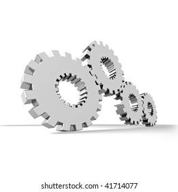 industrial gears set rendered