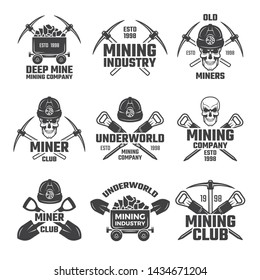 Industrial gold and various mineral mining. Black labels set. Mine mineral emblem, underworld club, company mining extraction illustration