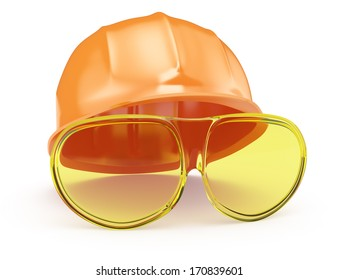 industrial helmet and glasses isolated on white background. 3d render