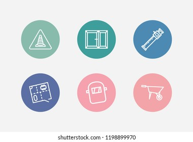 Industrial icon set and floor plan with construction badge, window and sliding scale. Pushcart related industrial icon  for web UI logo design.