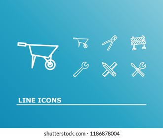 Industrial icon set and tools with barrier, pencil with ruler and wrench. Pushcart related industrial icon  for web UI logo design.