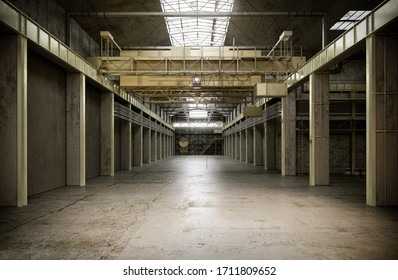 Industrial interior of an old factory building. 3D illustration