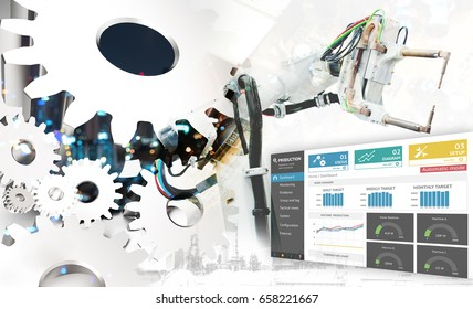 Industrial internet of things 4th concept. 3d Rendering engineer gears , production monitoring application ui dashboard screen for manager. Double exposure of automation machine robot , smart factory.