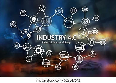 Industrial internet of things concept , Icon of industry 4.0 ,technology network,smart factory solution,Manufacturing technology,automation robot with abstract background