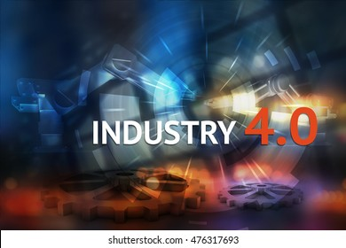 Industrial internet of things , Cyber Physical Systems concept . Gears and automation robot machine , Industry 4.0 text with abstract background