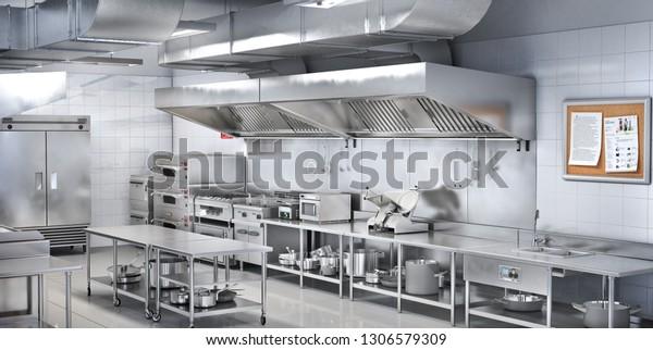 Industrial Kitchen Restaurant Kitchen 3d Illustration Stock