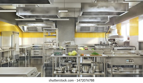 Industrial kitchen. Restaurant modern kitchen. 3d illustration
