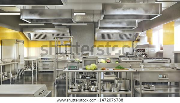 Industrial Kitchen Restaurant Modern Kitchen 3d Stock Illustration 1472076788