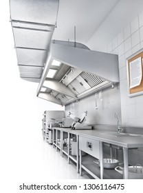 Industrial kitchen. Restaurant kitchen on a white backgrount. 3d illustration