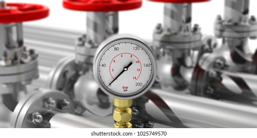 Industrial manometer on blur pipelines and valves background. Closeup view with details. 3d illustration