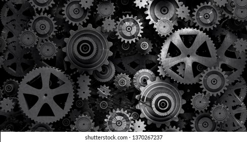 Industrial and mechanical background. Engine and technology concept.Gear cog background.3d illustration