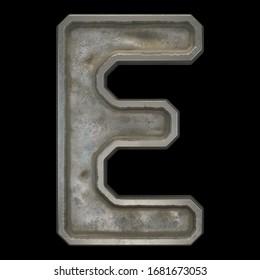 Industrial metal alphabet letter E on black background. 3d rendering
