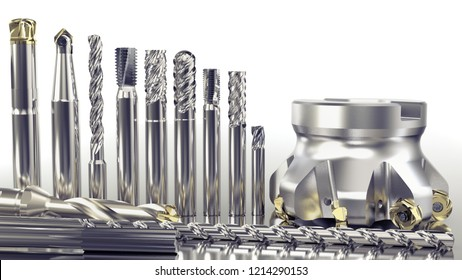 Industrial metalworking tools, different milling cutter tools on white background, 3D rendering