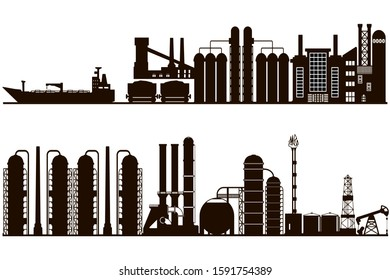 Industrial panorama background, black and white silhouette.  Line art illustration featuring oil and gas factories industrial landscape and pollution concept.