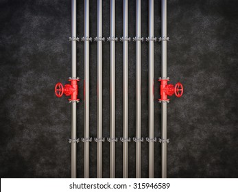 Industrial Pipe Valve on dark background