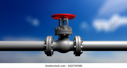 Industrial pipeline and valve with red wheel on blur blue sky background, banner, front view. 3d illustration