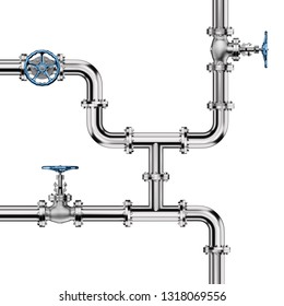 Industrial Pipes with Valves isolated on White Background. 3D illustration